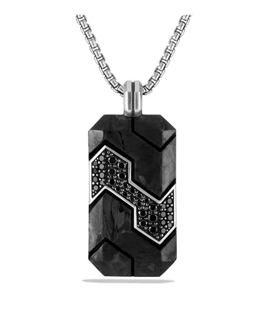 David Yurman | Forged Carbon Tag With Black Diamonds In Silver for Men | Lyst