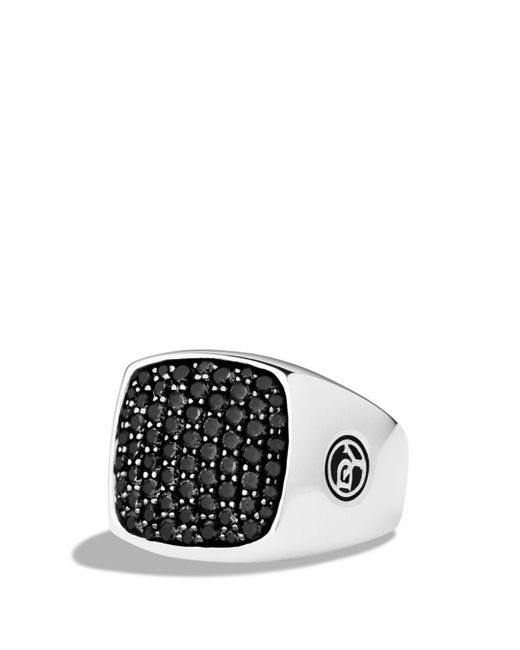 David Yurman - Metallic Pavé Signet Ring With Black Diamonds for Men - Lyst