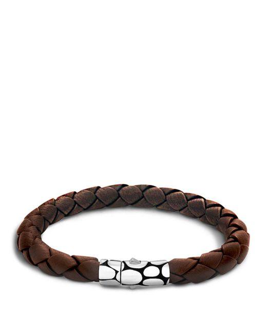 John Hardy - Men's Kali Silver Brown Woven Leather Bracelet for Men - Lyst