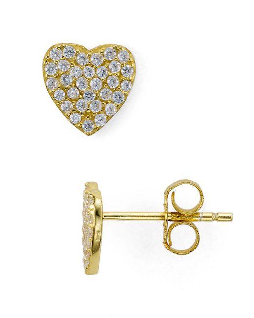 Aqua - Metallic Heart Stud Earrings - Lyst
