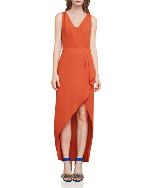BCBGMAXAZRIA - Orange Tobyn Asymmetric Faux-wrap Dress - Lyst