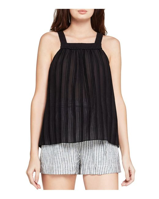 BCBGeneration | Black Shirred Square-neck Tank | Lyst