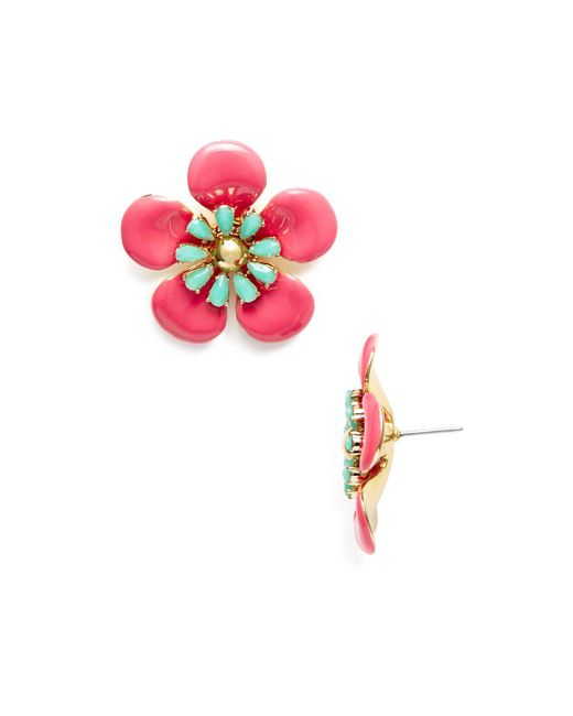 Kate Spade - Pink Flower Stud Earrings - Lyst