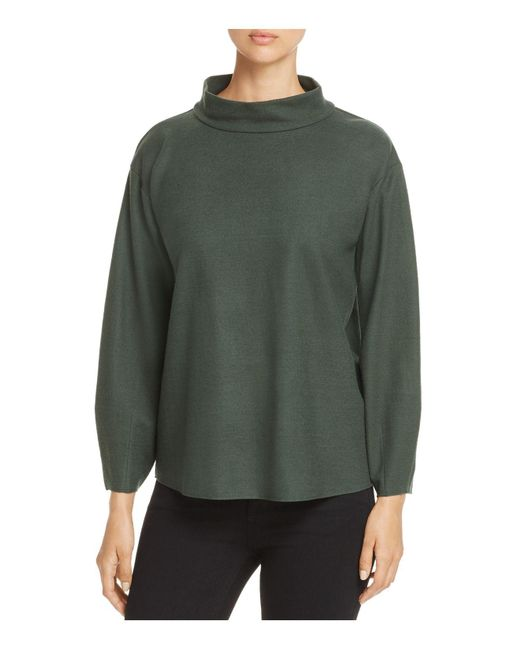 Eileen Fisher | Green Mock Neck Wool Top | Lyst