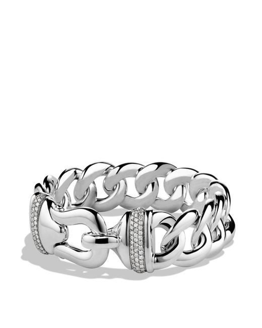David Yurman - Metallic Buckle Single-row Bracelet With Diamonds - Lyst