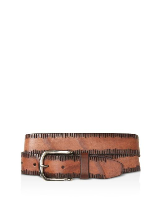 John Varvatos - Brown Side Stitch Leather Belt for Men - Lyst