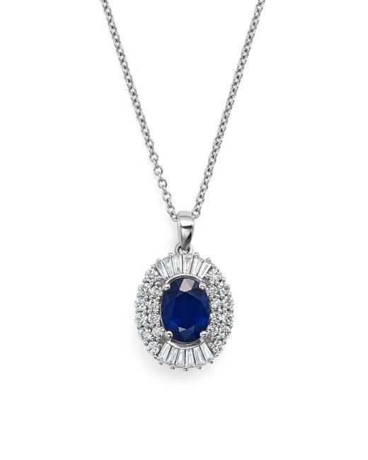 """Bloomingdale's - Sapphire And Diamond Pendant Necklace In 14k White Gold, 18"""" - Lyst"""