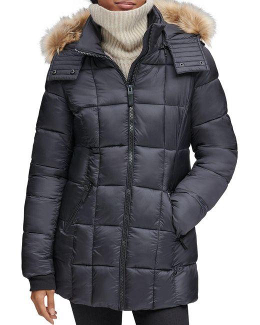 Marc New York - Black Riverdale Faux Fur Trim Hooded Puffer Coat - Lyst