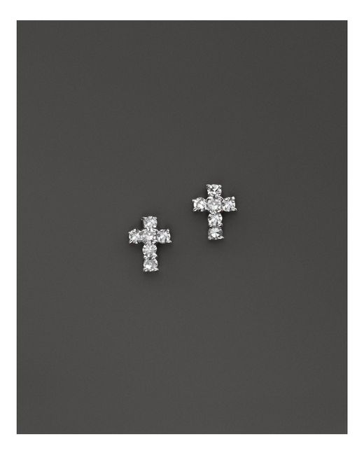 KC Designs - Metallic Diamond Small Cross Stud Earrings In 14k White Gold - Lyst