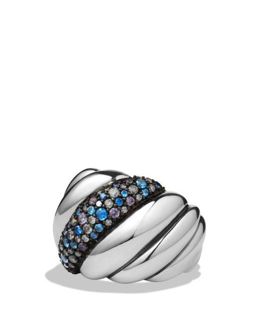 David Yurman - Metallic Hampton Cable Ring With Gray Diamonds & Blue Sapphires - Lyst