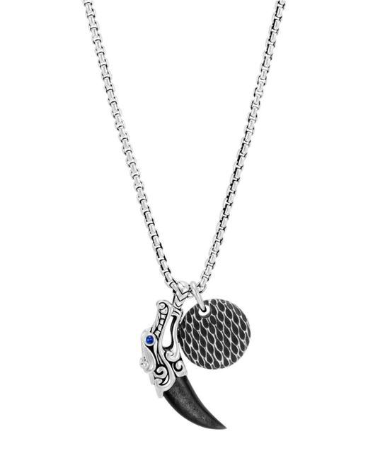 "John Hardy - Metallic Sterling Silver Legends Naga Silver Sheen Obsidian & Blue Sapphire Eyes Pendant Box Chain Necklace, 24"" for Men - Lyst"
