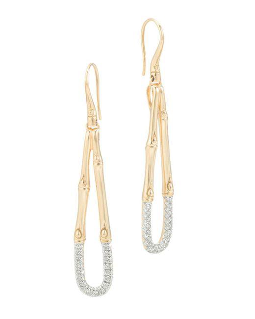 John Hardy - Metallic Bamboo 18k Gold And Diamond French Wire Earrings - Lyst