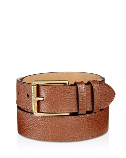 Cole Haan - Brown Flat Strap Leather Belt With Stitched Edge for Men - Lyst