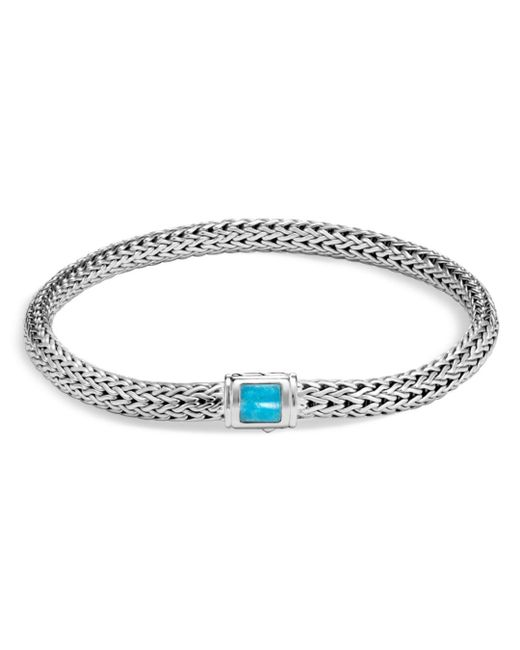 John Hardy - Blue Sterling Silver Classic Chain Extra Small Bracelet With Turquoise - Lyst