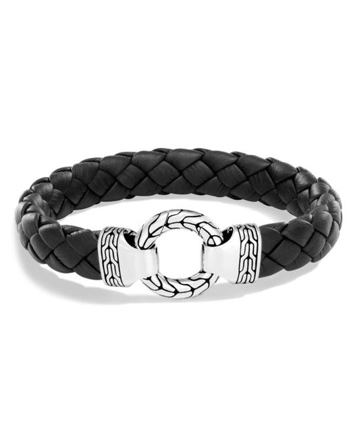 John Hardy - Metallic Men's Sterling Silver Classic Chain Ring Bracelet With Braided Black Leather for Men - Lyst