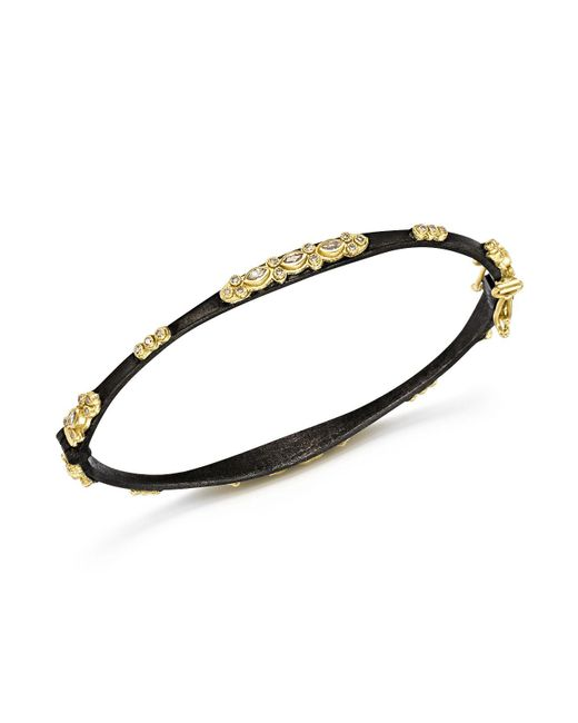 Armenta - Metallic 18k Yellow Gold And Blackened Sterling Silver Old World Diamond And White Sapphire Bracelet - Lyst