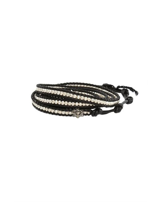 Chan Luu | Silver Bead On Black Leather Wrap Bracelet With Diamond Star Charm | Lyst