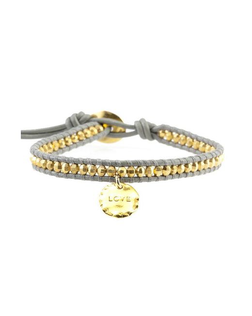 Chan Luu - Metallic Gold Bead On Coconut Leather Bracelet With Love Charm - Lyst