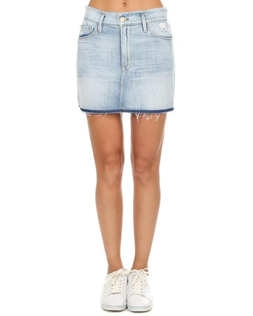 FRAME - Blue Le Mini Frayed Waist Skirt - Lyst