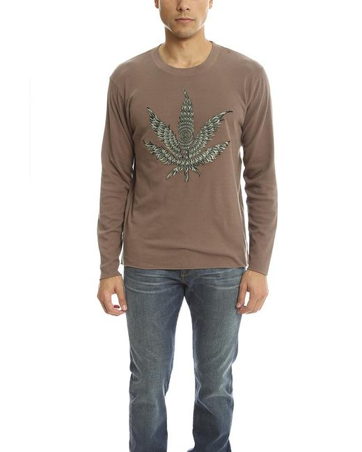 Lucien Pellat Finet | Brown Embroidered Leaf Tee for Men | Lyst