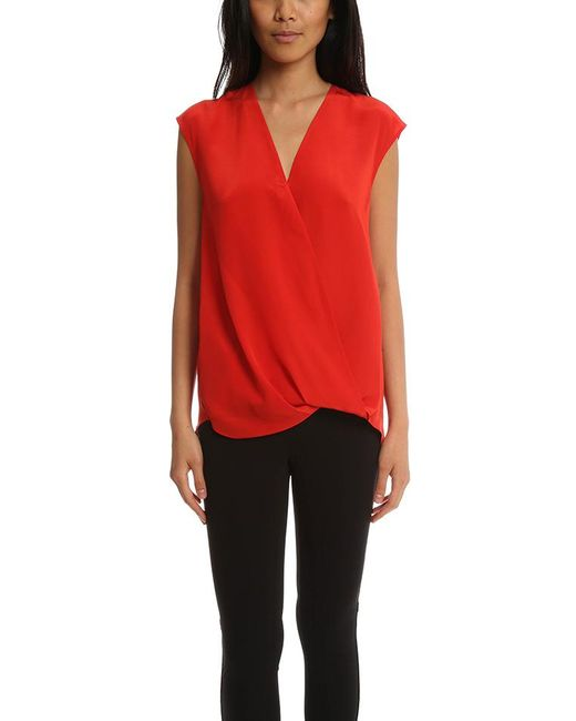 3.1 Phillip Lim - Red Soft Draped Sleeveless Blouse - Lyst