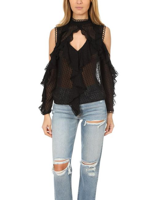 Nicholas | Black Georgette Cold Shoulder Top | Lyst