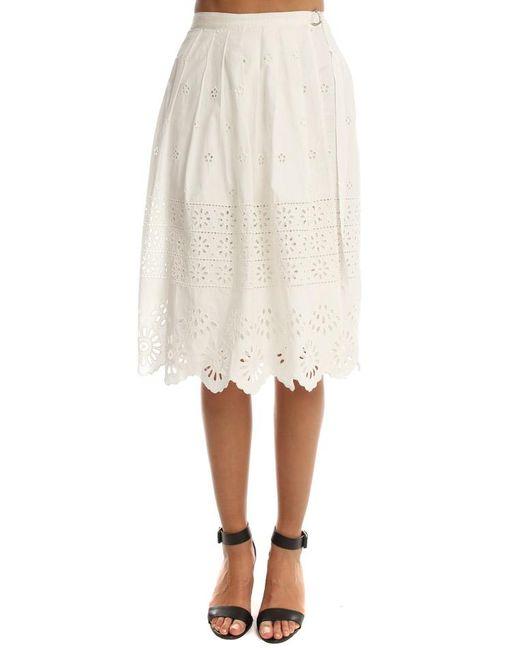 Sea - White Wrapped Eyelet Skirt - Lyst