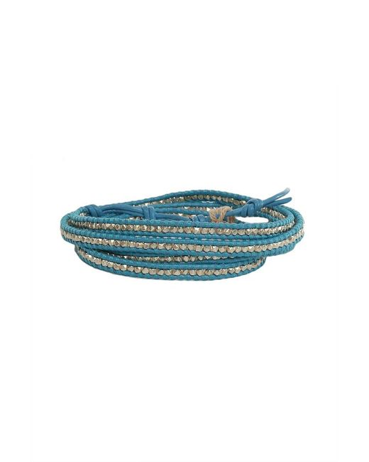 Chan Luu - Green Aqua Leather Silver Bead Wrap Bracelet - Lyst
