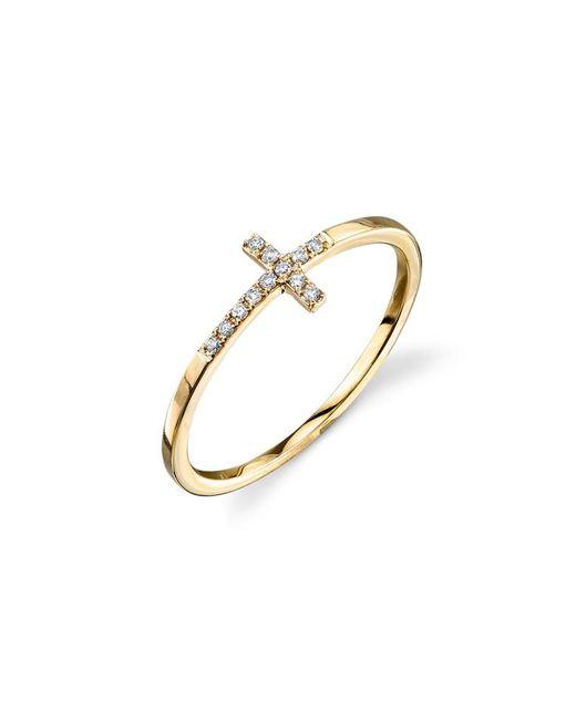 Sydney Evan - Metallic Bent Cross Pavé Diamond Ring - Lyst