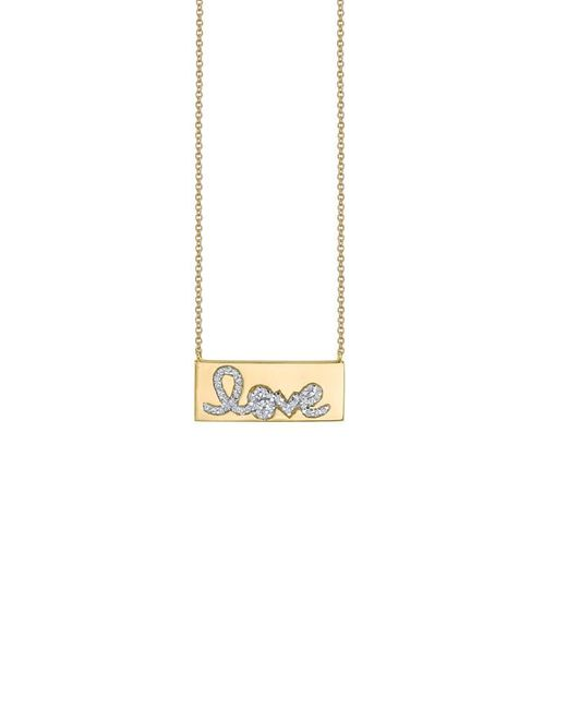 Sydney Evan - Metallic Diamond Love Bar Necklace - Lyst