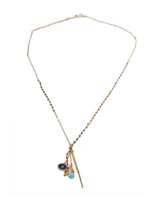 Chan Luu - Metallic Aqua Multi Gold Dagger Pendant Necklace - Lyst