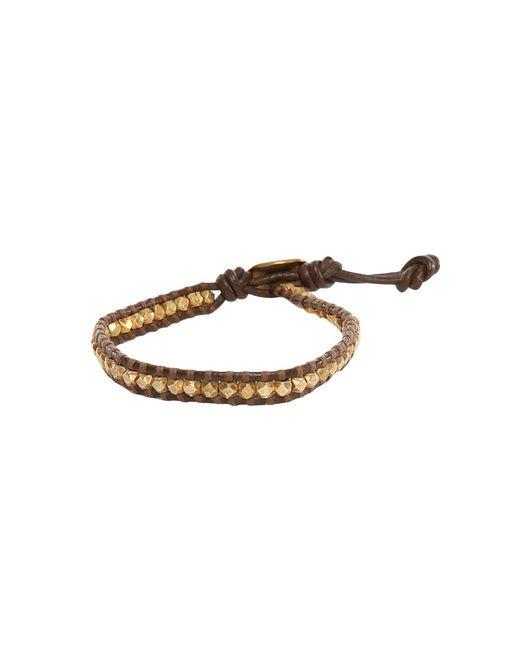 Chan Luu | Metallic Gold Nugget On Brown Leather Bracelet | Lyst