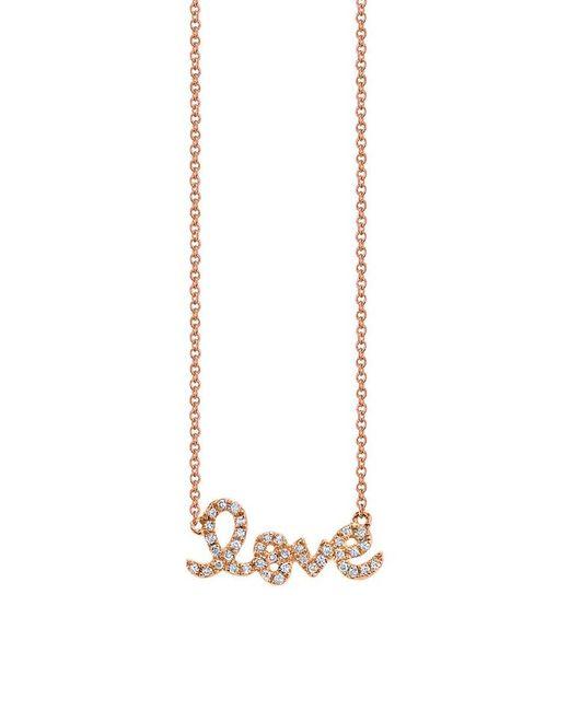 Sydney Evan | Metallic Small Love Necklace Rose Gold | Lyst