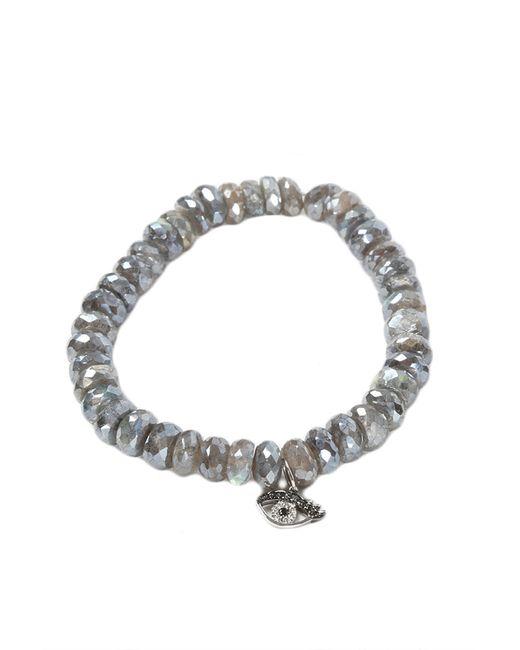 Sydney Evan | Gray Small Eyelash Evil Eye Charm Bracelet | Lyst