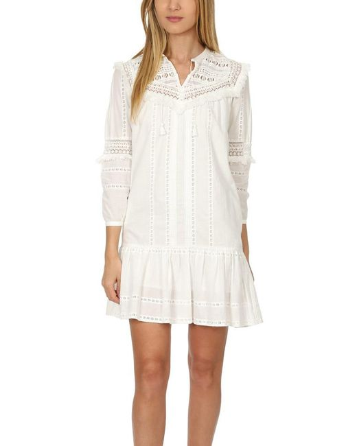 Sea | White Striped Lace Belted Dress | Lyst