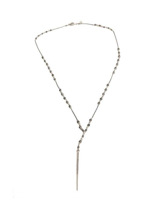 Chan Luu - Metallic Gunmetal Chain Necklace With Indian Beads - Lyst