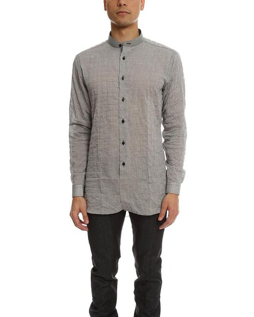Naked & Famous - Gray Long Shirt Crinkle Horizontal Stripes for Men - Lyst