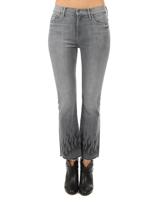 86bddabba55b0 Mother - Gray Insider Ankle Fray Jean - Lyst ...