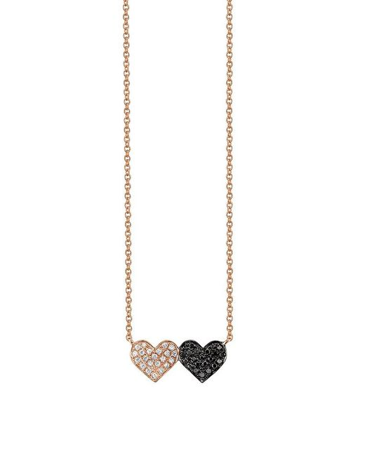 Sydney Evan - Pink Medium Double Heart Necklace - Lyst