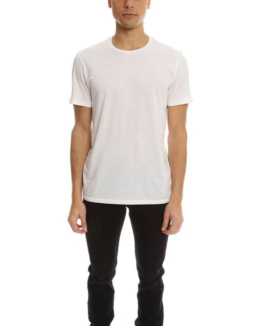 Vince pima cotton crew neck tee in white for men lyst for Pima cotton crew neck t shirt