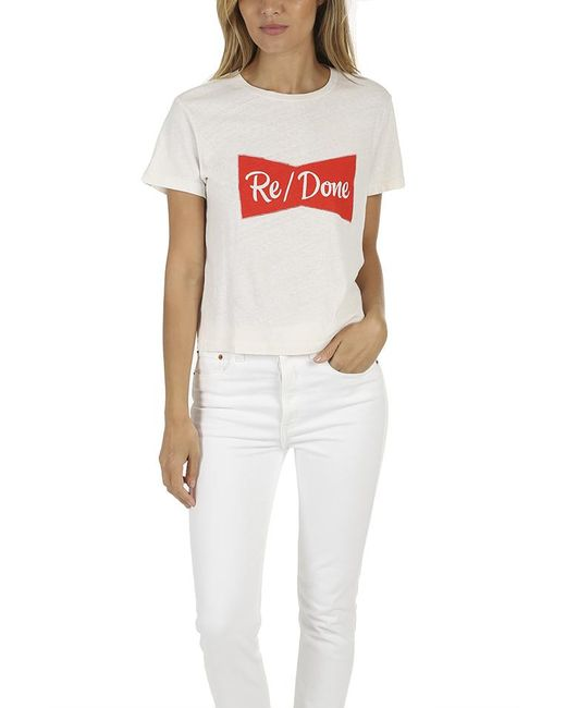 Re/done - White Ribbon Graphic Classic Tee - Lyst