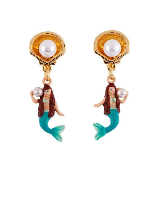Les Nereides - White I Am A Mermaid With Shell And Pearl Earrings - Lyst