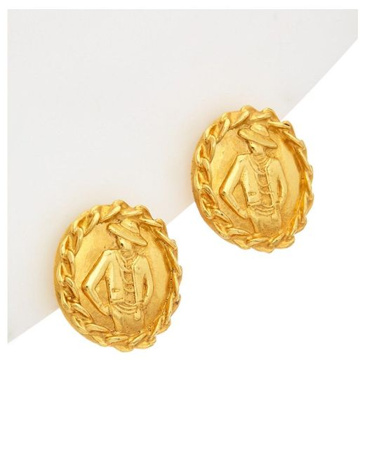 Chanel - Metallic Gold Tone Rope Edge Burst Earrings - Lyst