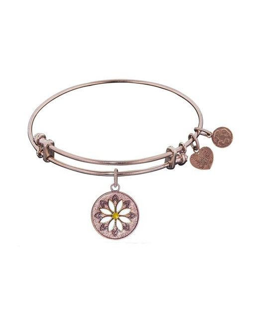 Angelica - Pink Stipple Finish Brass Daisy Flower Bangle Bracelet, 7.25 - Lyst