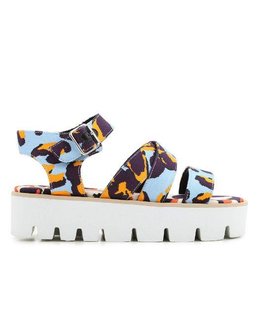 MSGM - Blue Women's Multicolor Fabric Sandals - Lyst