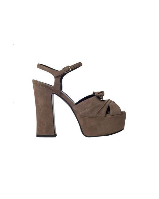 Saint Laurent   Gray Women's 384977c20002346 Grey Suede Sandals   Lyst