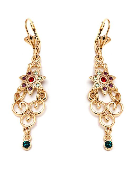 Peermont - Metallic Gold And Crystal Elements Flower Drop Earrings - Lyst