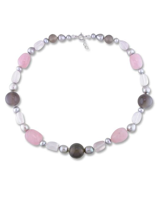 Catherine Malandrino | Multicolor Freshwater Cultured Pearl And Gems Bead Necklace | Lyst