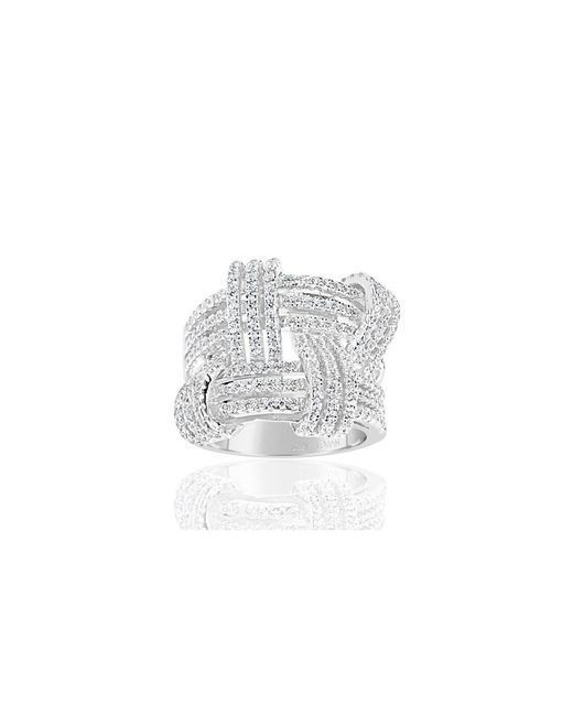 Suzy Levian - White Sterling Silver Cubic Zirconia Weaving Wide Band Ring - Lyst