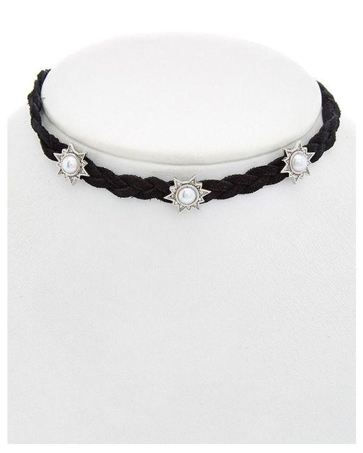 Rebecca Minkoff - Multicolor Crystal Braided Leather Charm Choker Necklace - Lyst